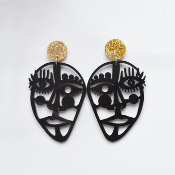 Picasso Statement Post Earrings in Black - Goldmakers Fine Jewelry