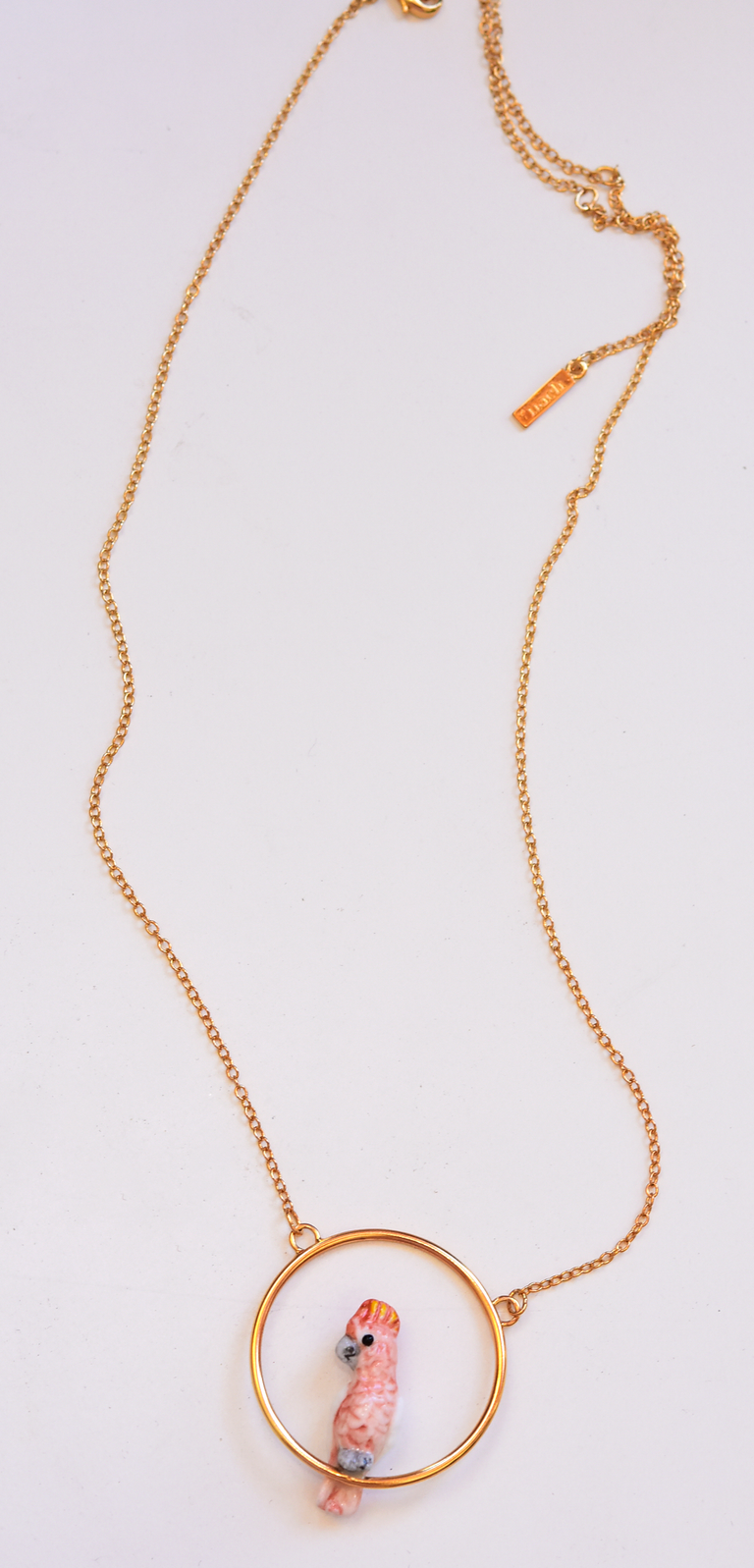 Pink Cockatoo Necklace - Goldmakers Fine Jewelry