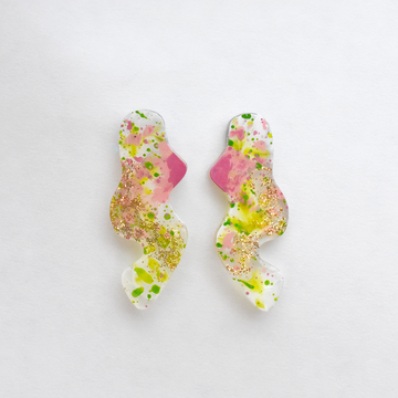 Pink and Green Squiggle Post Earrings - Goldmakers Fine Jewelry