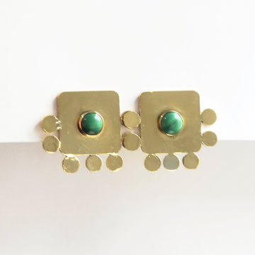 Pompeii Malachite Earrings - Goldmakers Fine Jewelry