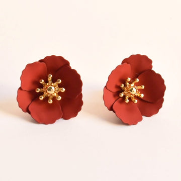 Poppy Stud Earrings in Dark Red