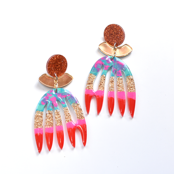 Protea Post Earrings in Red - Goldmakers Fine Jewelry