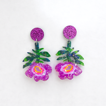 Purple Flower Drop Earrings - Goldmakers Fine Jewelry