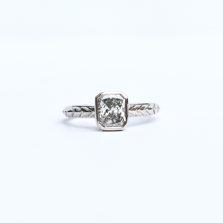 Radiant-Cut Diamond Deco Solitaire - Goldmakers Fine Jewelry