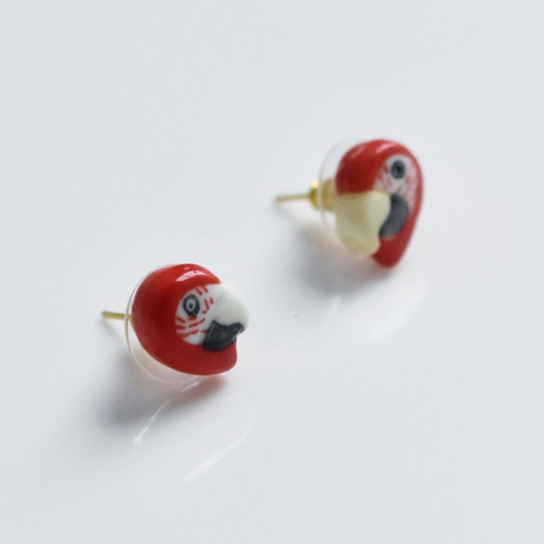 Red Parrot Post Earrings - Goldmakers Fine Jewelry