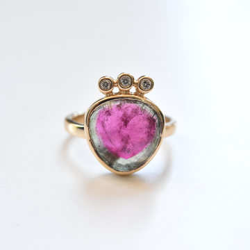 Rose Cut Watermelon Tourmaline Ring - Goldmakers Fine Jewelry