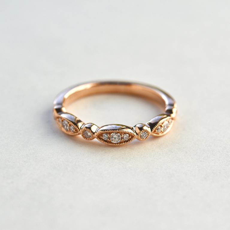 Diamond Almond Band in Rose Gold - Goldmakers Fine Jewelry