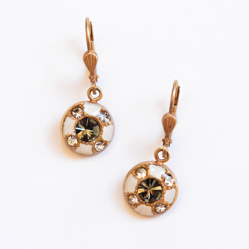 Round Crystal French Wire Earrings - Goldmakers Fine Jewelry