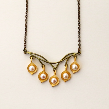 Round Five Leaf Eucalyptus Necklace - Goldmakers Fine Jewelry
