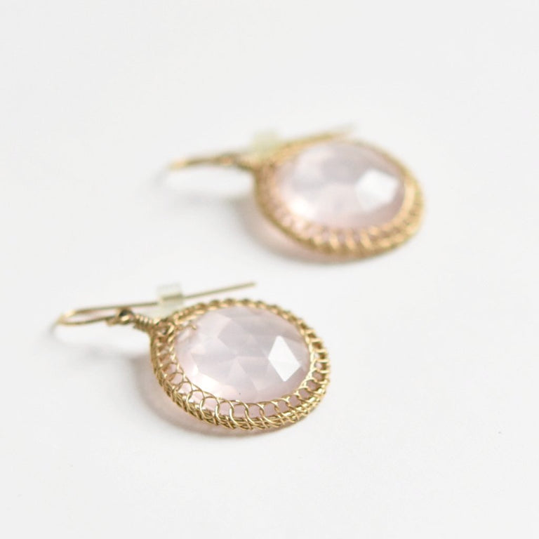 Faceted Round Rose Quartz Drop Earrings - Goldmakers Fine Jewelry