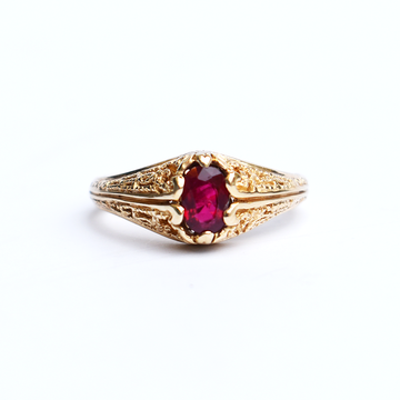 Ruby Engagement Ring in Vintage Style