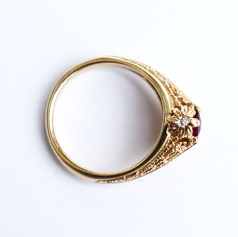 Ruby Engagement Ring in Vintage Style - Goldmakers Fine Jewelry