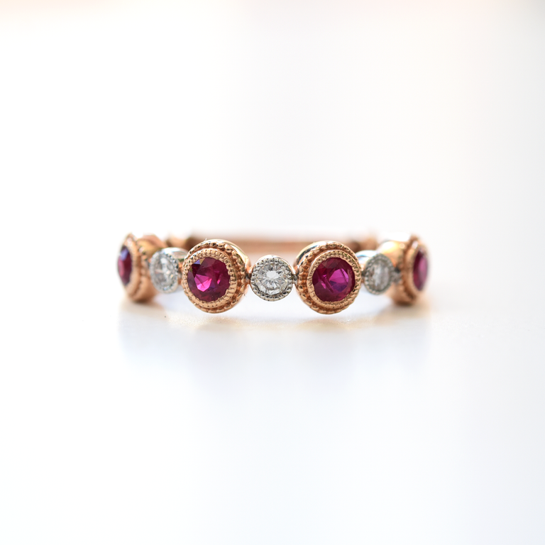 Ruby and Diamond Engagement Ring in Rose Gold - Goldmakers Fine Jewelry