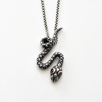 Copperhead Snake Pendant Necklace in Silver with Rubies - Goldmakers Fine Jewelry