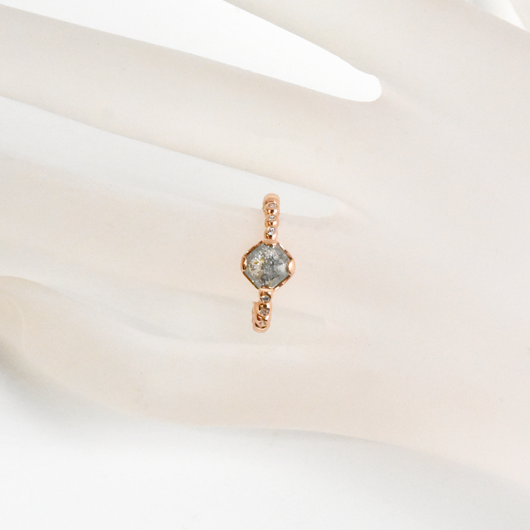 Salt and Pepper Diamond Ring in Rose Gold - Goldmakers Fine Jewelry