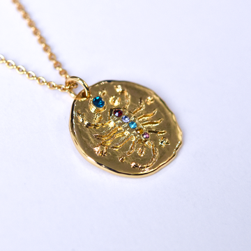 Scorpio Coin Necklace - Goldmakers Fine Jewelry