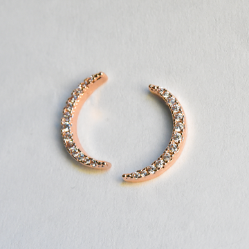 Petite Selene Crescent and Star Posts in Rose Gold - Goldmakers Fine Jewelry