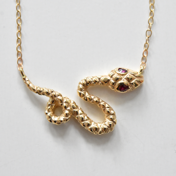Serpens Collar in Gold With Ruby Eyes - Goldmakers Fine Jewelry