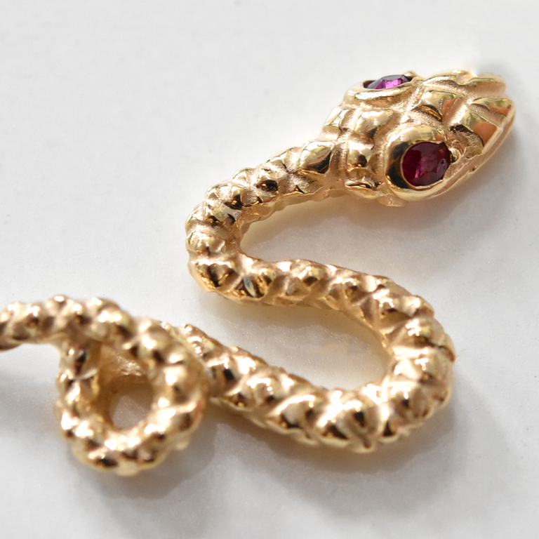 Serpent Collar in Gold With Ruby Eyes - Goldmakers Fine Jewelry