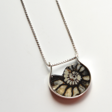 Ammonite Necklace in Sterling Silver - Goldmakers Fine Jewelry