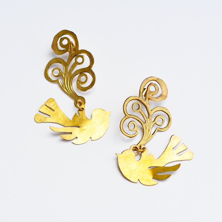 Sihana Bird Drop Earrings - Goldmakers Fine Jewelry