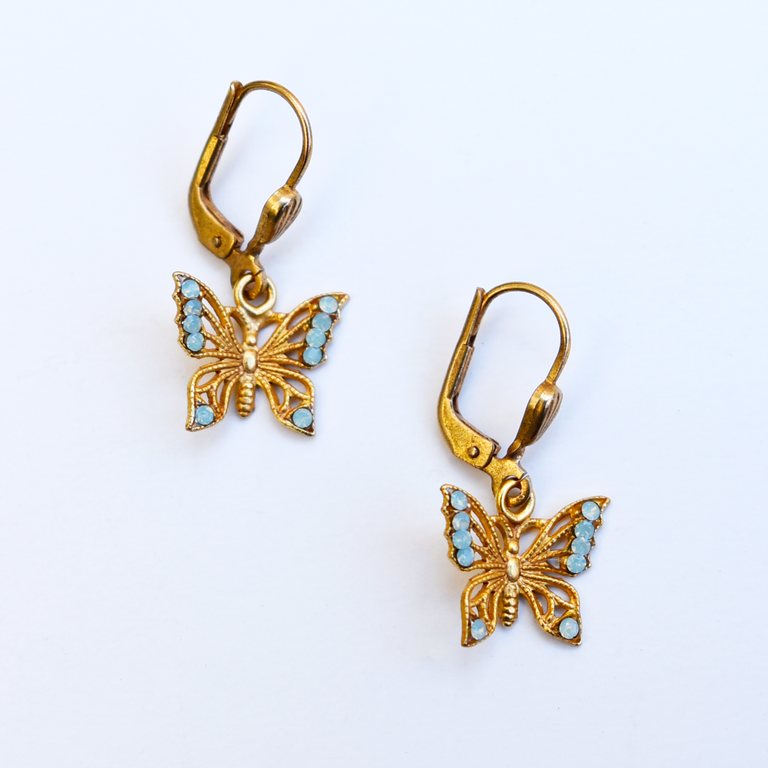 Sky Blue Butterfly Earrings - Goldmakers Fine Jewelry