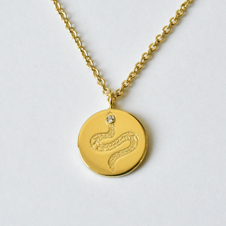 Snake Medalion Necklace - Goldmakers Fine Jewelry