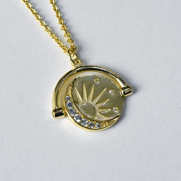 Spinning Moon and Stars Necklace - Goldmakers Fine Jewelry