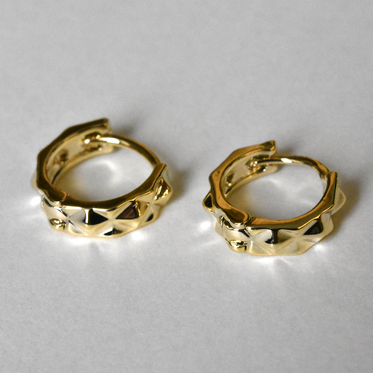 Studded Huggie Hoops - Goldmakers Fine Jewelry
