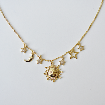 Sun Moon and Stars Necklace - Goldmakers Fine Jewelry