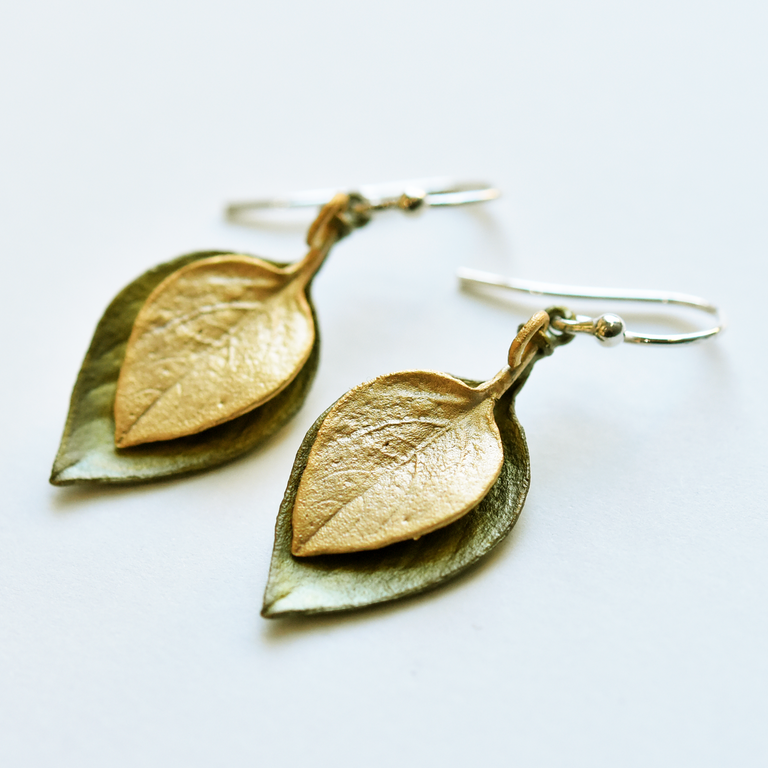 Sweet Basil French Wire Earrings Two Leaf - Goldmakers Fine Jewelry