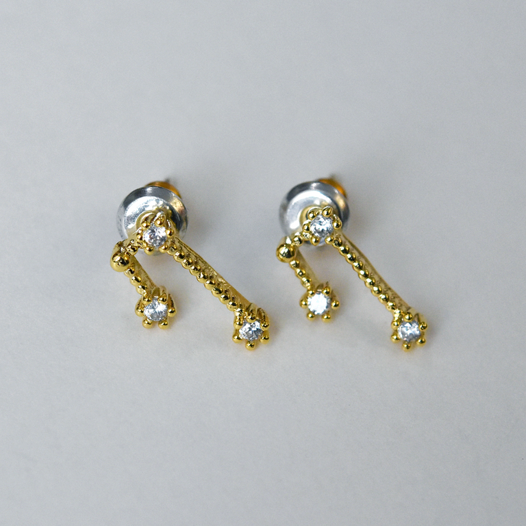 Taurus Constellation Post Earrings - Goldmakers Fine Jewelry