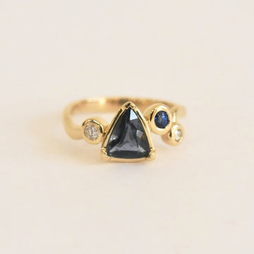 Shield Cut Teal Sapphire Engagement Ring - Goldmakers Fine Jewelry