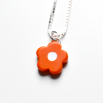 Mini Mod Flower Necklace in Tomato - Goldmakers Fine Jewelry