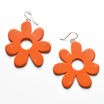 Large Mod Flowers in Tomato with Accents - Goldmakers Fine Jewelry