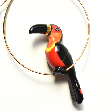 Black and Gold Toucan Hoops - Goldmakers Fine Jewelry