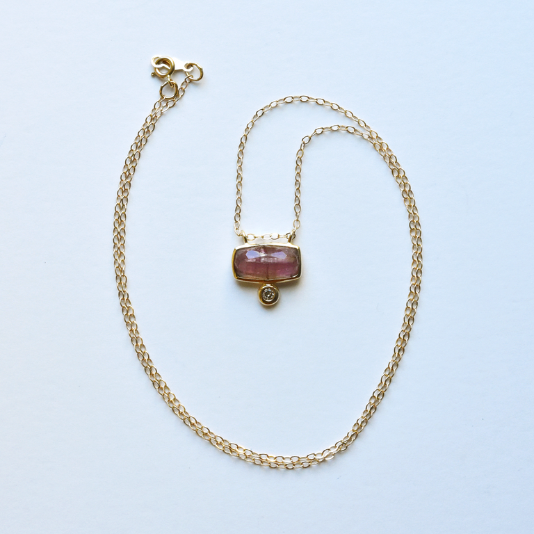 Pink Tourmaline Pendant Necklace in Yellow Gold - Goldmakers Fine Jewelry