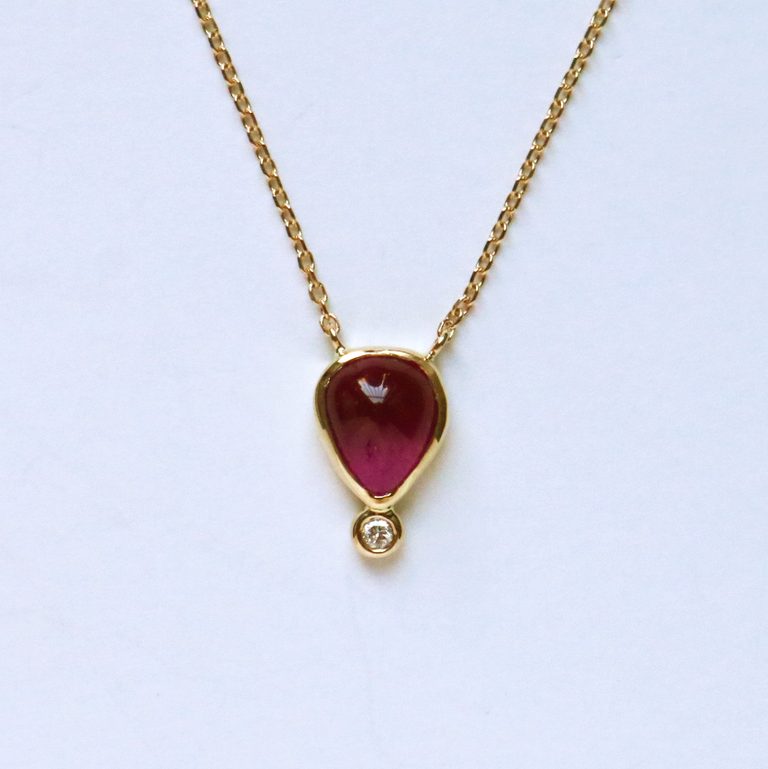 Pink Tourmaline Diamond Necklace - Goldmakers Fine Jewelry