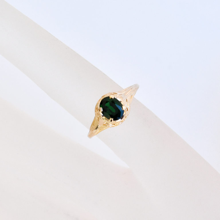 Peacock Motif Tourmaline Ring in Gold Filigree - Goldmakers Fine Jewelry