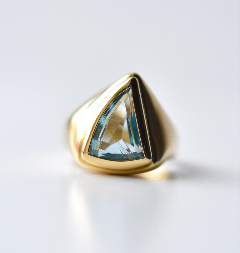 Rutilated Blue Topaz Ring in Gold - Goldmakers Fine Jewelry