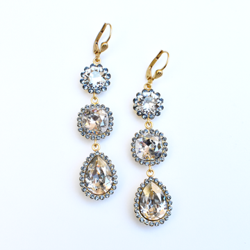 Triple Crystal Drop Earrings - Goldmakers Fine Jewelry