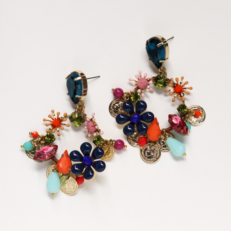 Tropical Flower Statement Earrings in Night Floral - Goldmakers Fine Jewelry