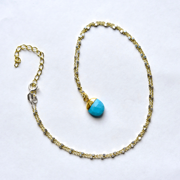 Turquoise Vermeil Necklace in Two Tone