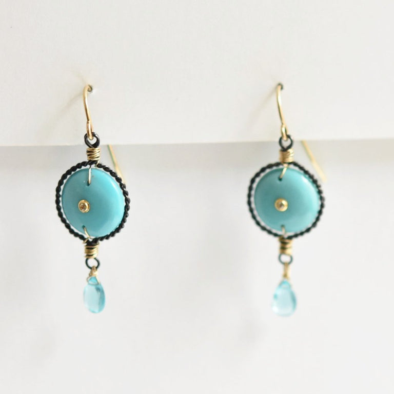 Turquoise and Apatite French Wire Earrings - Goldmakers Fine Jewelry