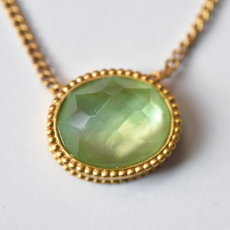 Verona Necklace in Seaglass Green - Goldmakers Fine Jewelry