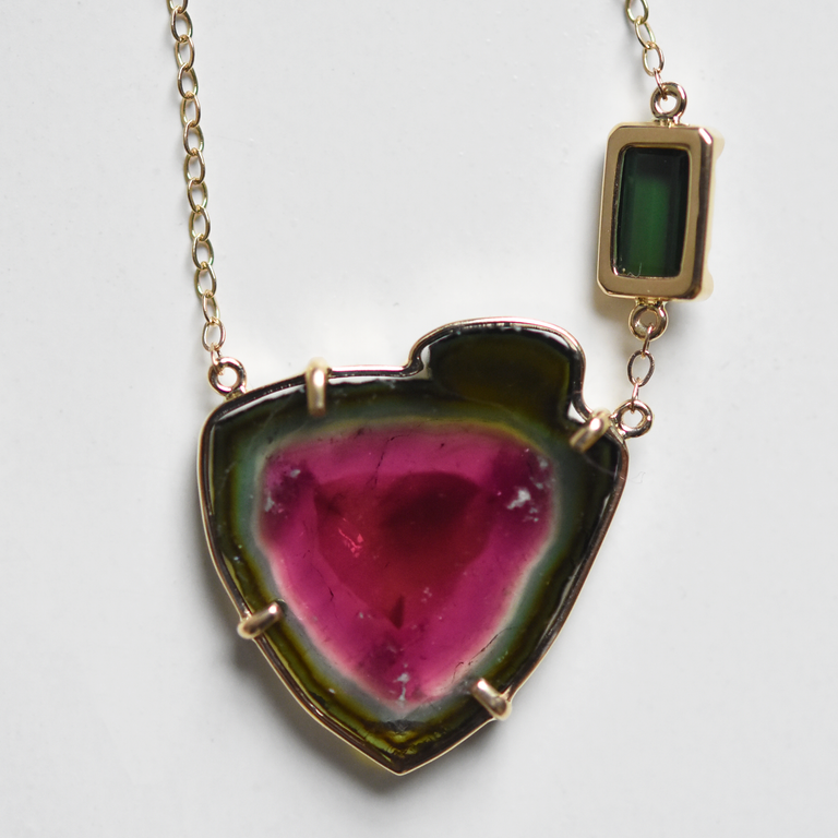 Watermelon Tourmaline Necklace in Yellow Gold - Goldmakers Fine Jewelry