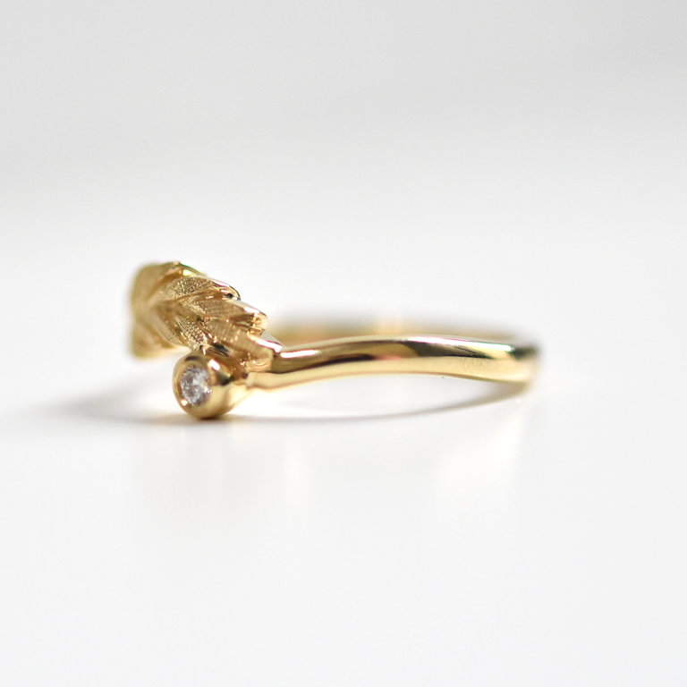 Diamond Wheat Ring in Yellow Gold - Goldmakers Fine Jewelry