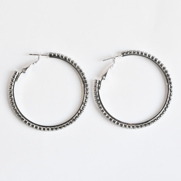 White CZ Hoop Earrings - Goldmakers Fine Jewelry