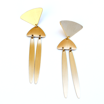 Wind Chime Brass Dangle Earrings - Goldmakers Fine Jewelry