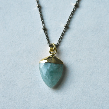 Aquamarine Shield Necklace with Oxidized Chain - Goldmakers Fine Jewelry